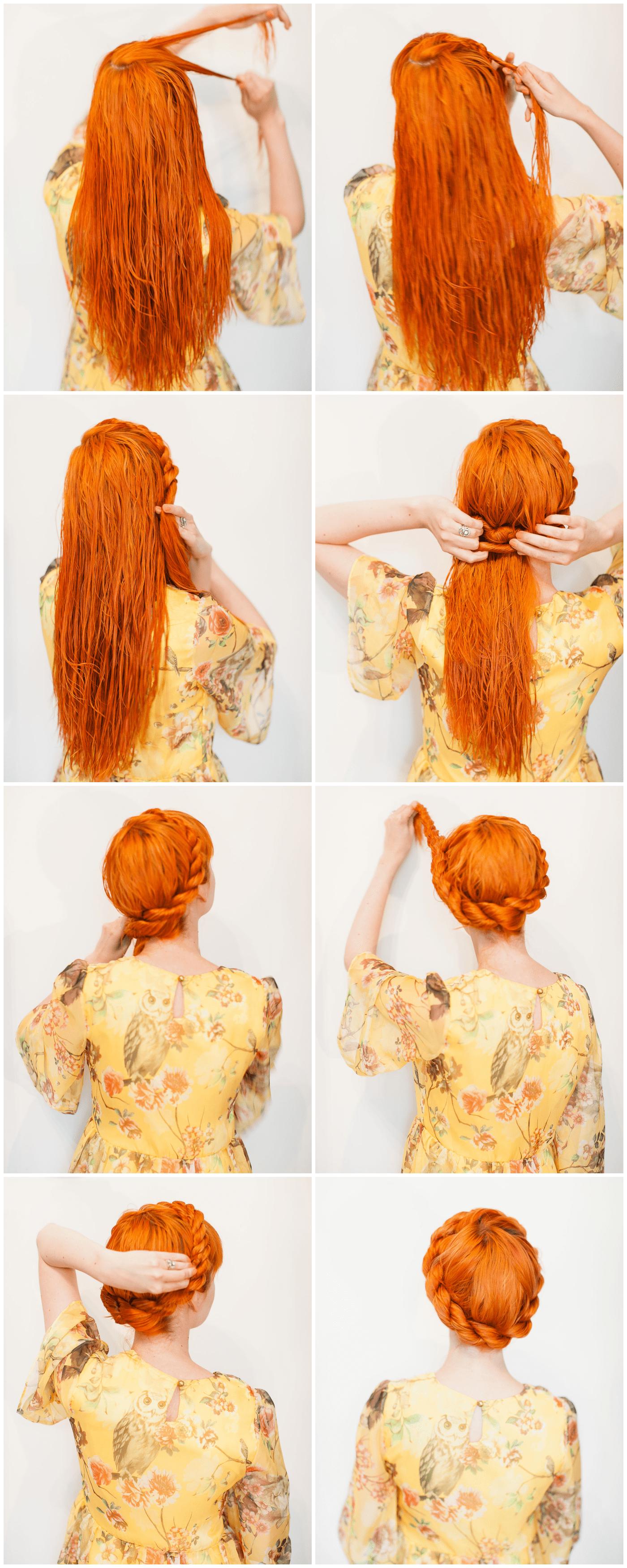 Витая корона – причёска на влажные волосы средней длины