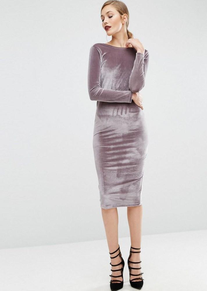 Бархатное обтягивающее платье 2017 - фото новинки сезона