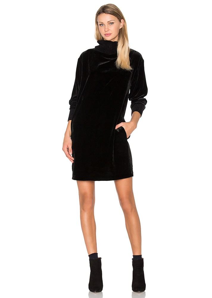 Модное бархатное черное платье 2017 с длинными рукавами