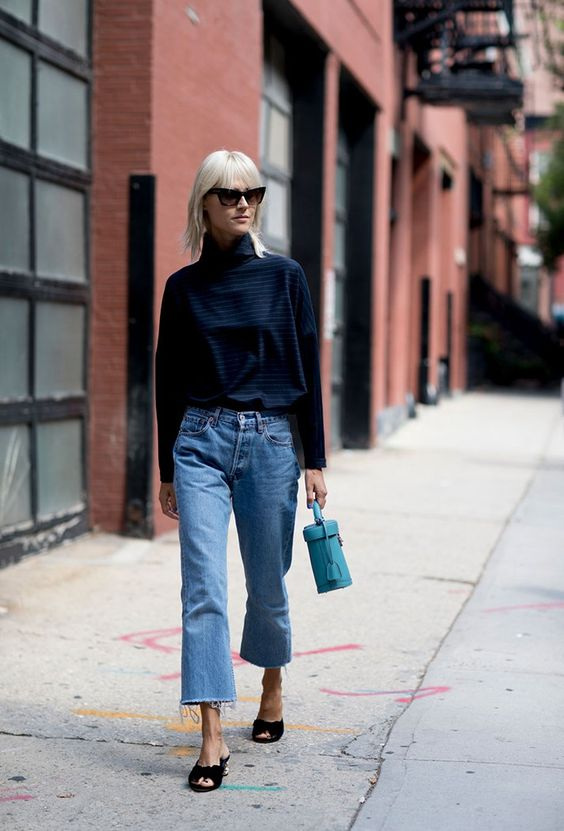 Подвернутые и укороченные джинсы
