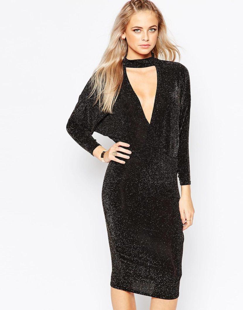 Модное блестящее платье 2017 с чокером