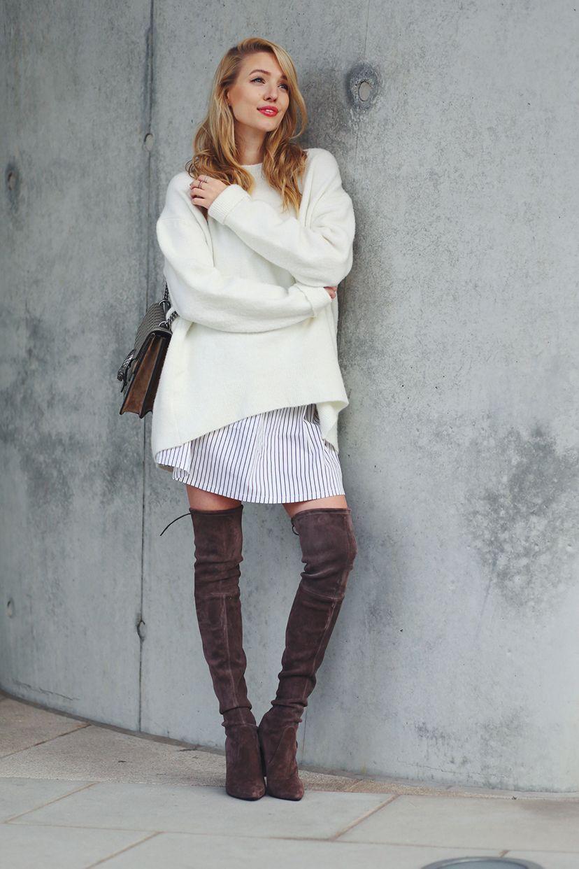 На фото: белый свитер оверсайз: самый уютный тренд сезона