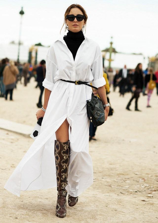 Белое модное платье рубашка 2017 - фото новинки и тренды сезона