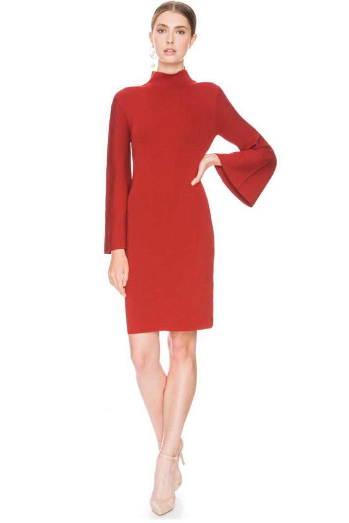 Красное модное платье футляр 2017 с расклешенными рукавами