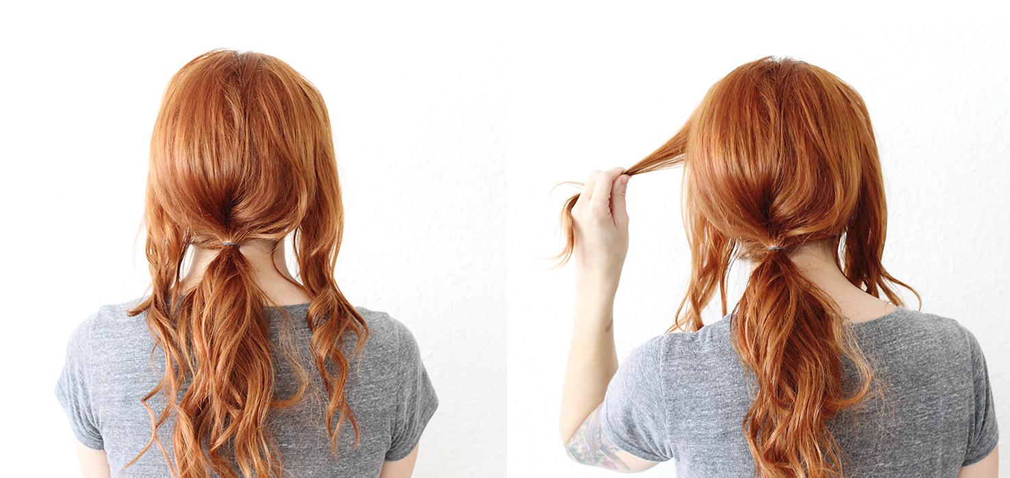 Причёски на средние волосы с хвостом