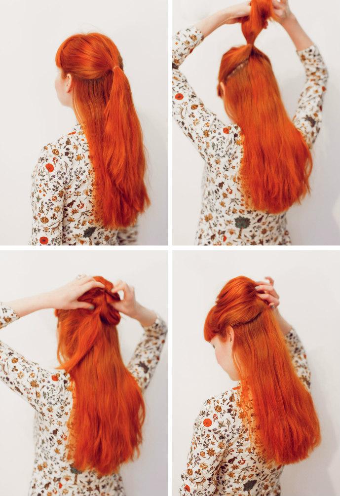 Новая причёска со средними волосами - пучок с косами