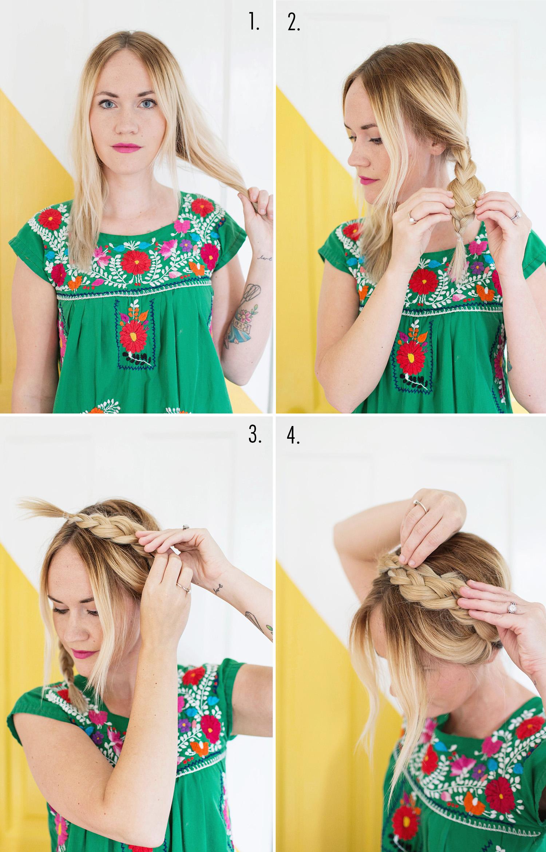 Простая прическа на средние волосы с косой - фото мастер класс