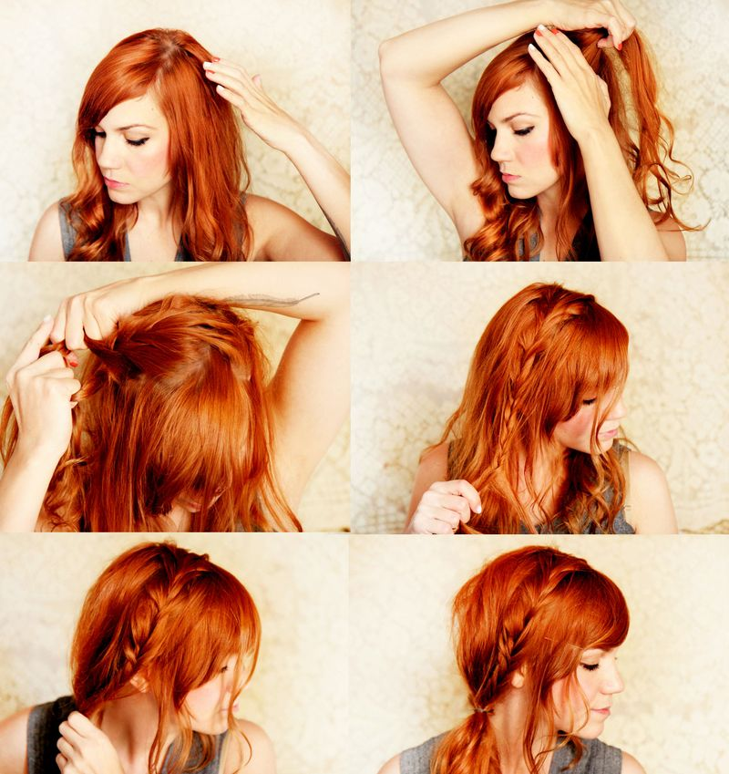 Милая прическа со средними волосами - в греческом стиле с хвостом фото схема