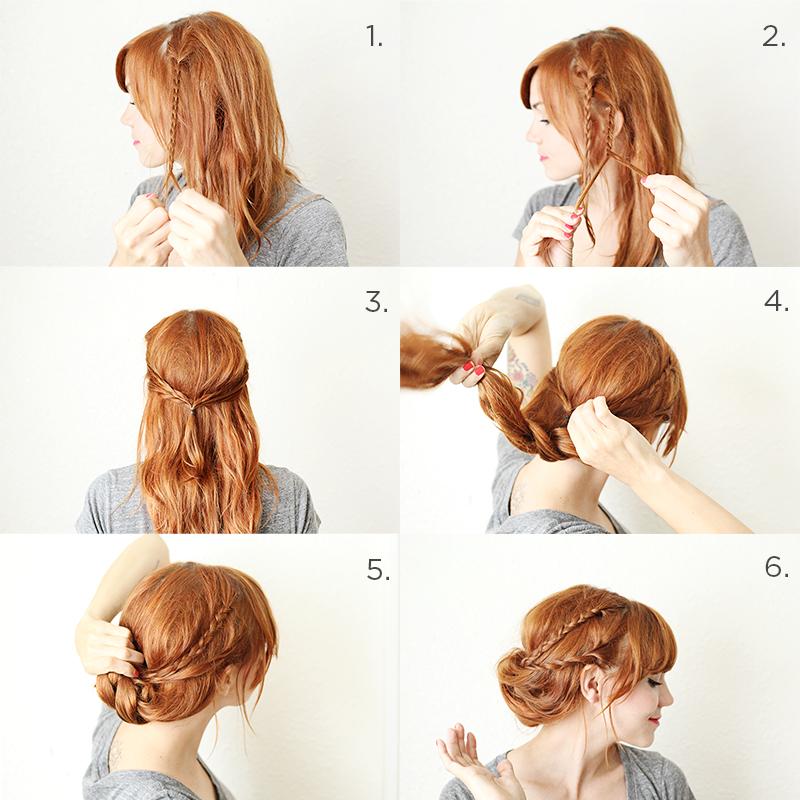 Прически пучок на средние волосы фото схема