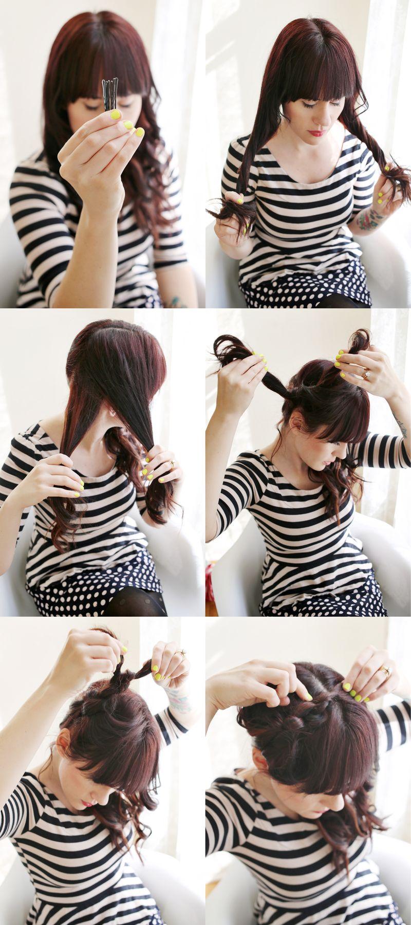 Собранные волосы - схема стильной прически на средние волосы фото