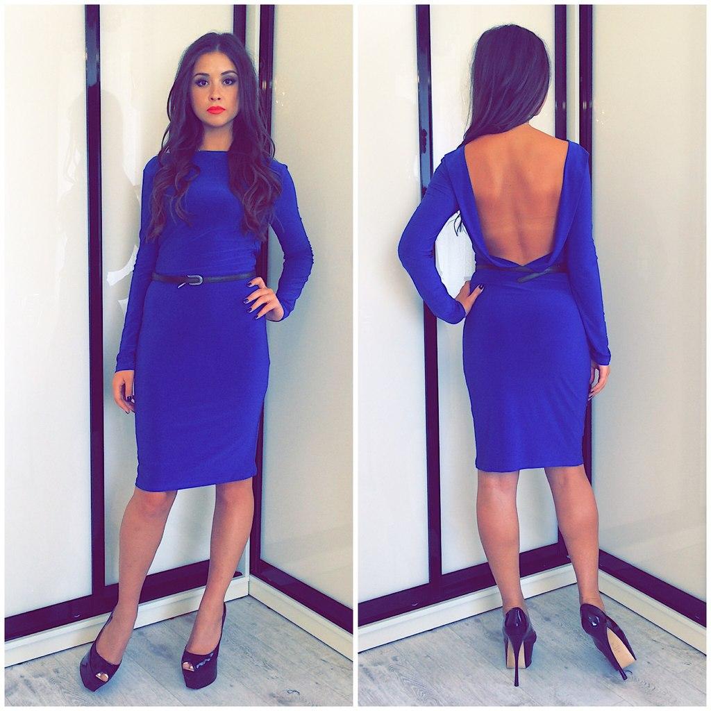 1ad09e2a334 Синее короткое платье с открытой спиной – фото новинка сезона