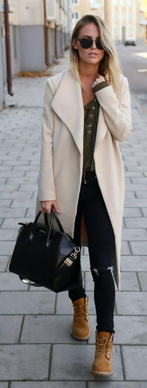 755adafa712f Сочетание пальто с тимберлендами, с чем еще модно носить тимберленды