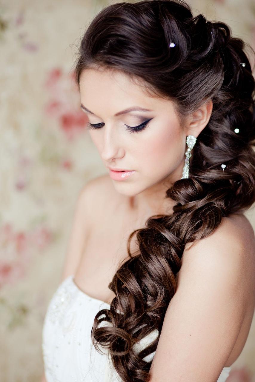 свадебная греческая прическа с косой