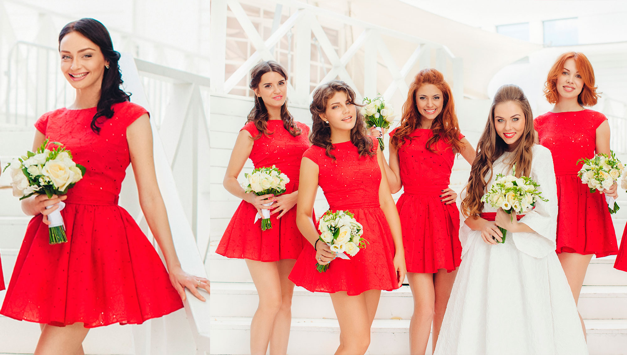 Фото красного платья, с чем носить