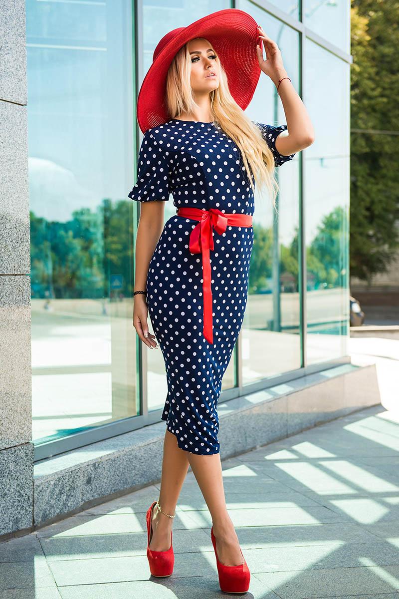 Купить платье в горох синее