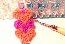 Браслет из резинок Переплетение сердец