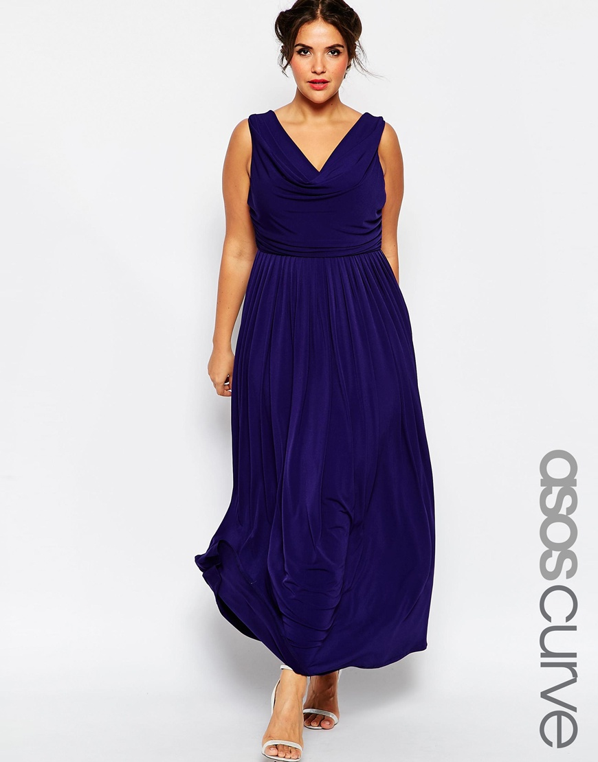 Платье синее в пол для полных