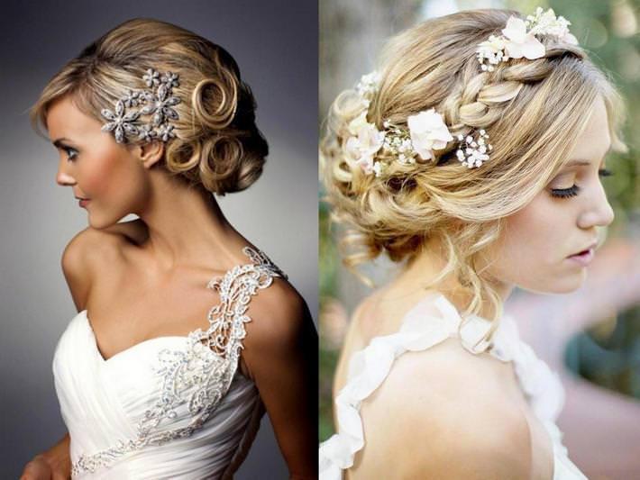 Причёски с ободком с цветами