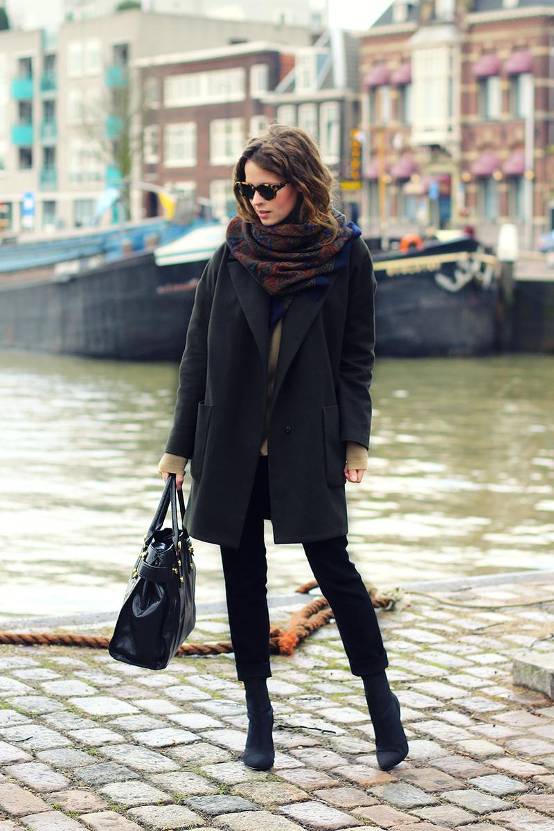 как носить пальто с шарфом фото