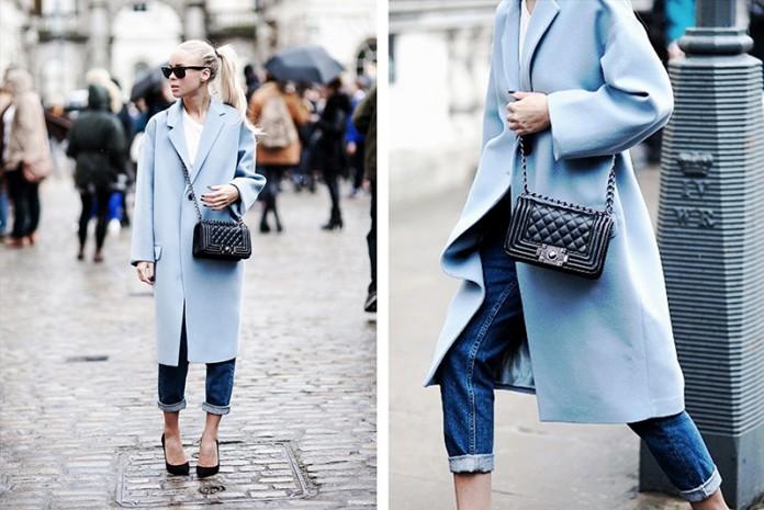Синее пальто: 34 оригинальных образов