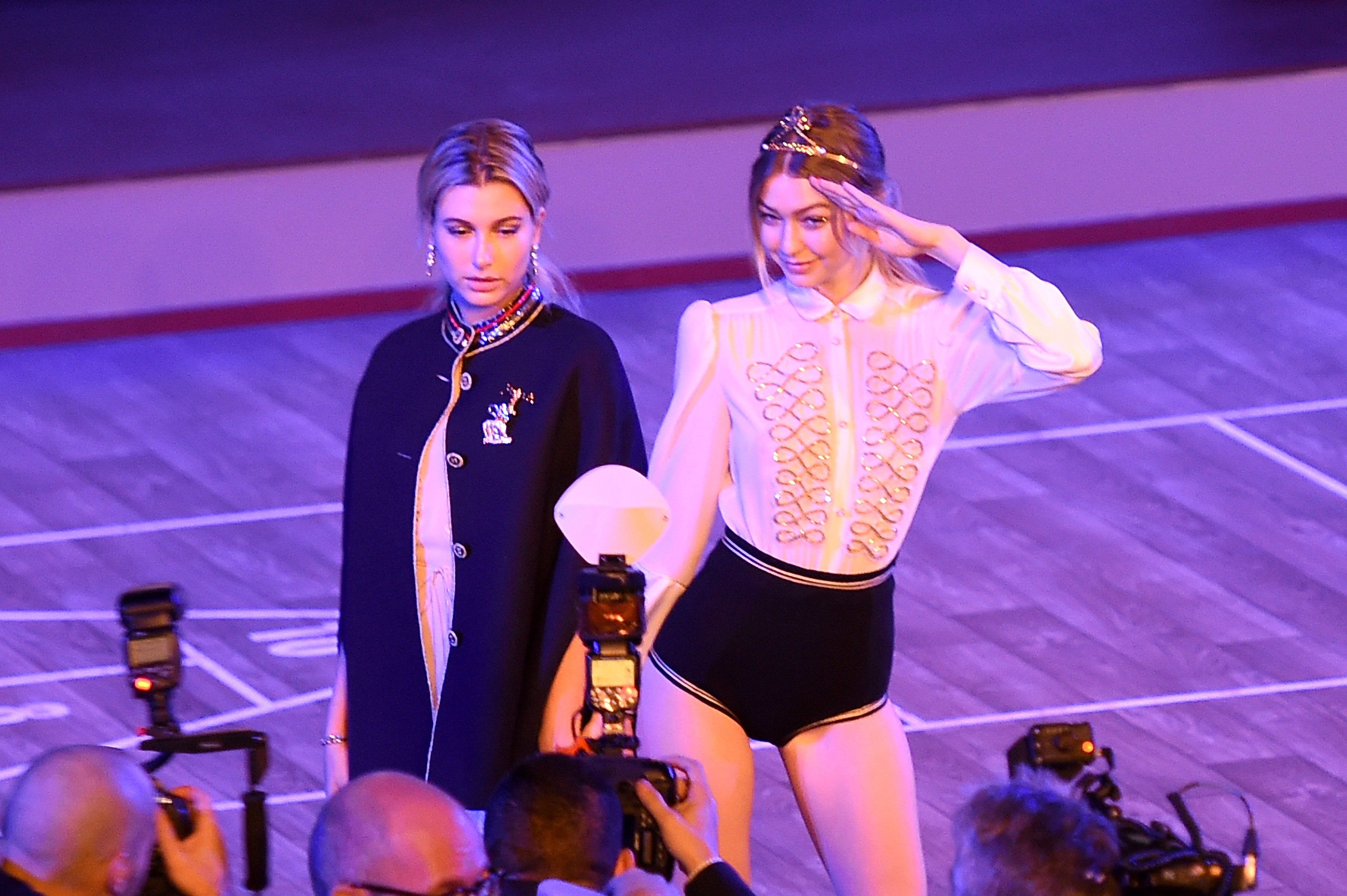 NEW YORK, NY - FEBRUARY 15: Models Hailey Baldwin (L) and Gigi Hadid pose backstage at the Tommy Hilfiger Women's Fall 2016 show during New York Fashion Week: The Shows at Park Avenue Armory on February 15, 2016 in New York City. (Photo by Nicholas Hunt/Getty Images for Tommy Hilfiger)