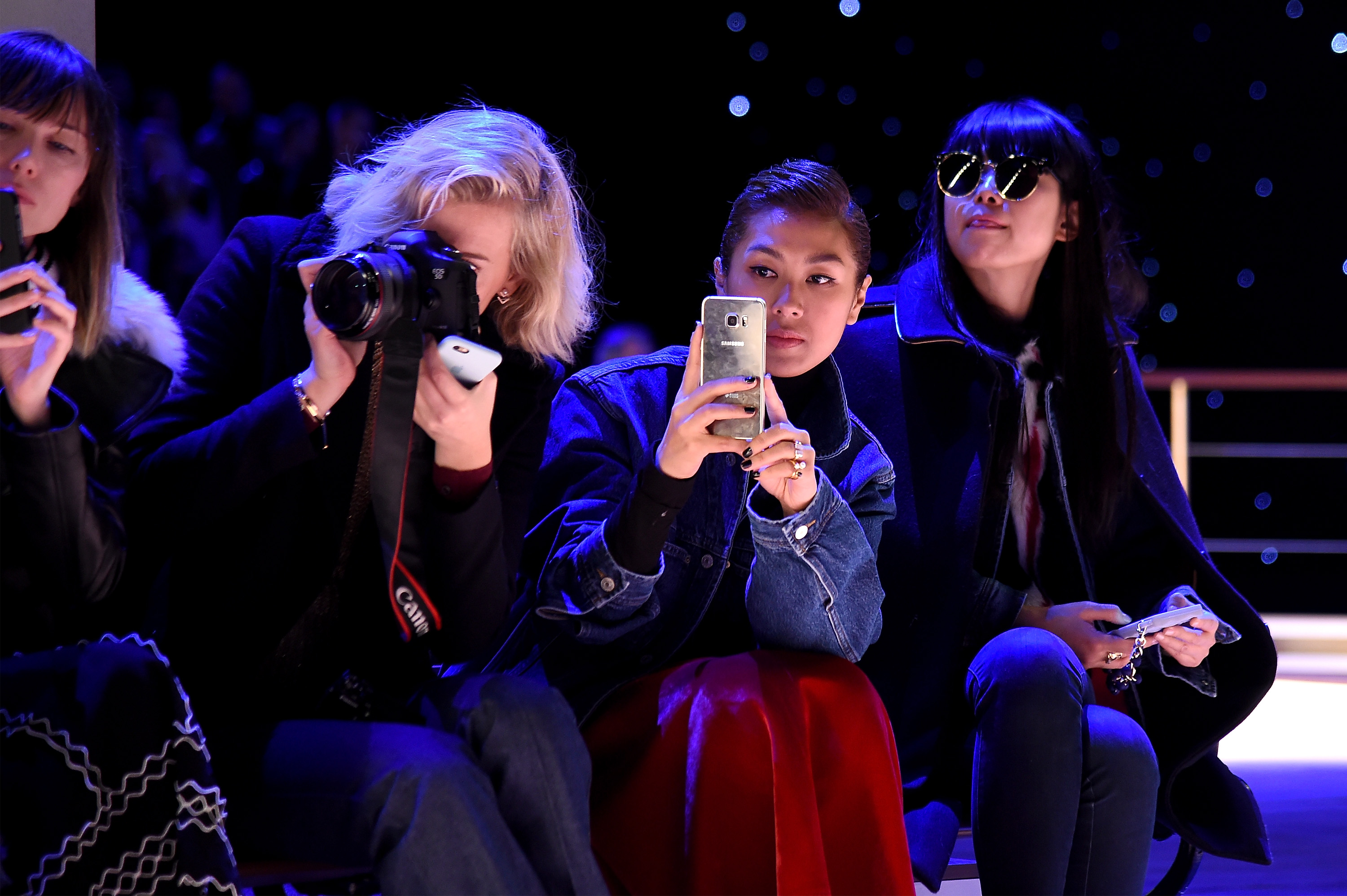 NEW YORK, NY - FEBRUARY 15: (L-R) Zanita Whittington, Liz Uy, and Leaf Greener attend the Tommy Hilfiger Women's Fall 2016 show durong New York Fashion Week: The Shows at Park Avenue Armory on February 15, 2016 in New York City. (Photo by Nicholas Hunt/Getty Images for Tommy Hilfiger)