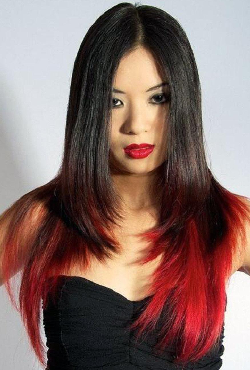 Невероятное окрашивание кончиков волос в красный цвет с модной стрижкой каскад 2020 – фото новинки и тренды сезона