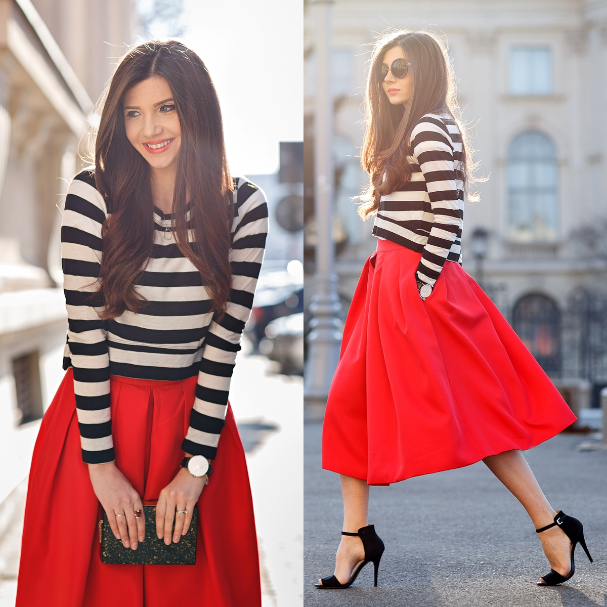 Сочетание с красным цветом юбки