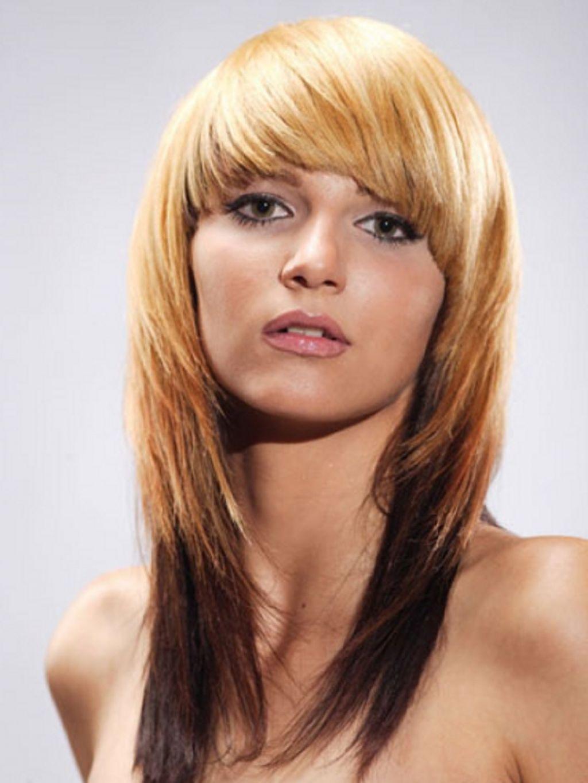 стрижка на средние волосы с челкой градуироованный каскад