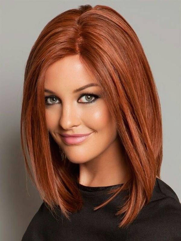 красивые рыжие волосы в стрижке длинное каре без челки