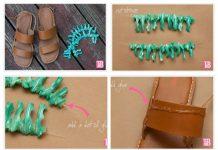 14 новых способов, украсить сандалии своими руками
