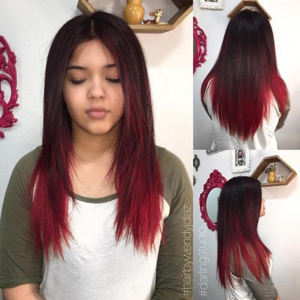 Омбре на темные волосы красным цветом