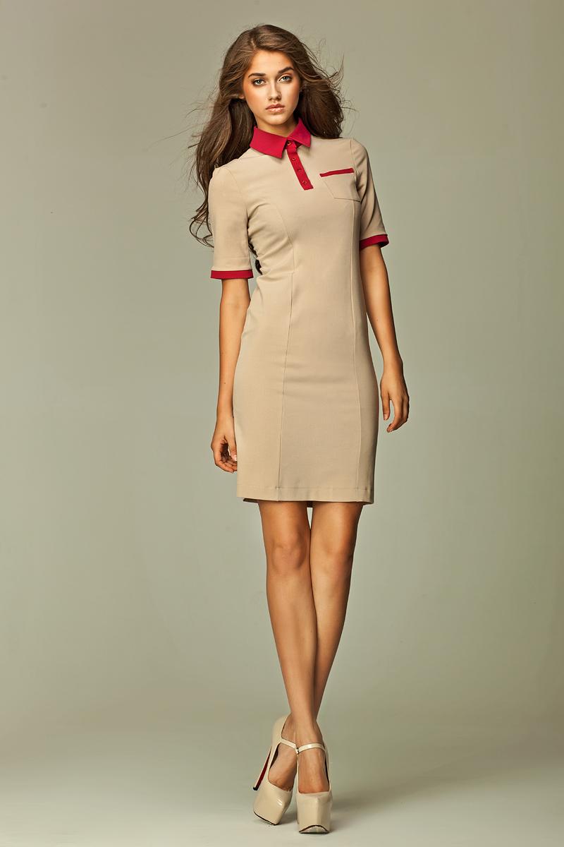 Фасон платья поло, бежевое платье в спортивном стиле. Модель платье поло 2020