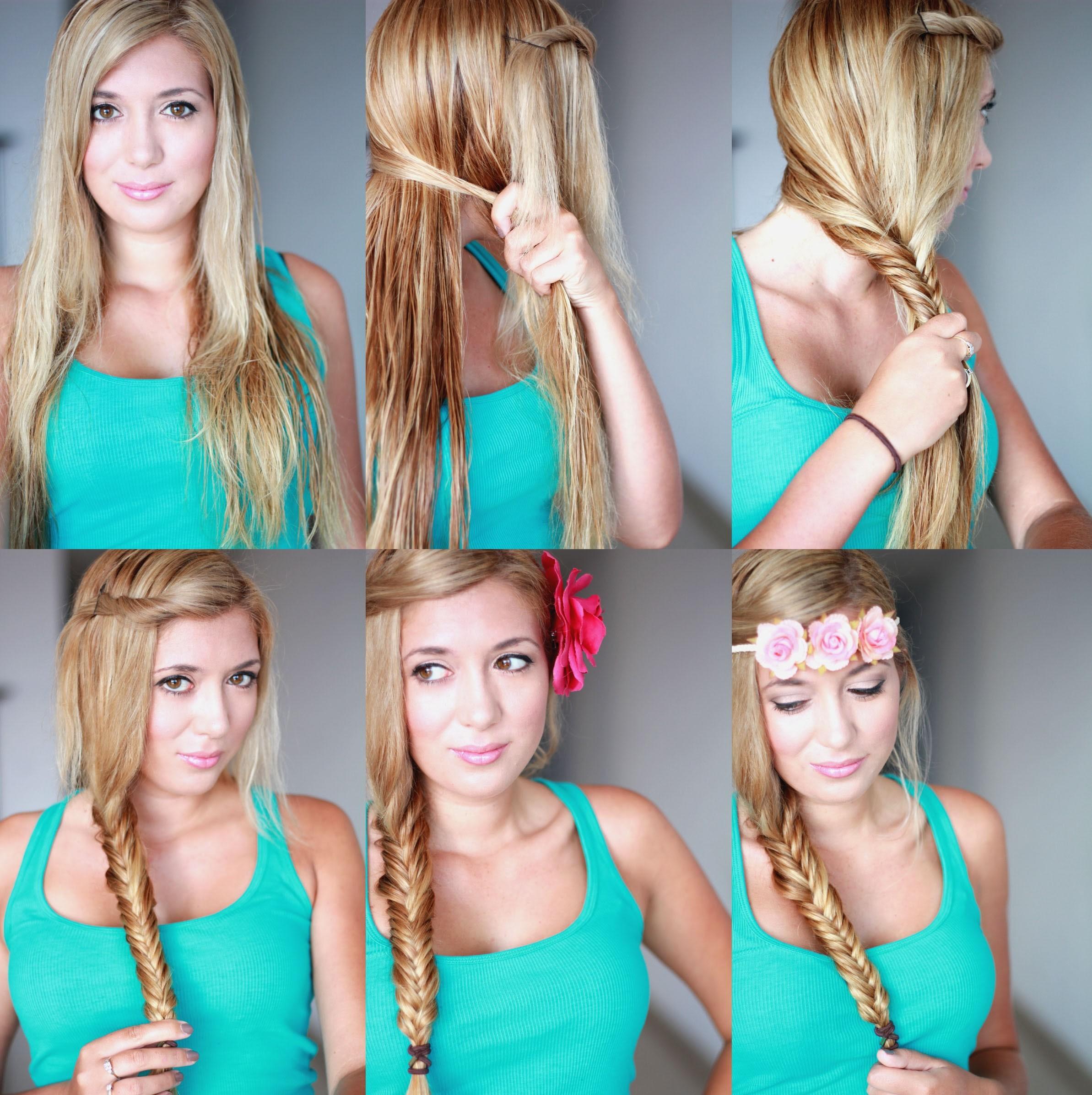 модное плетение косы со средними волосами.