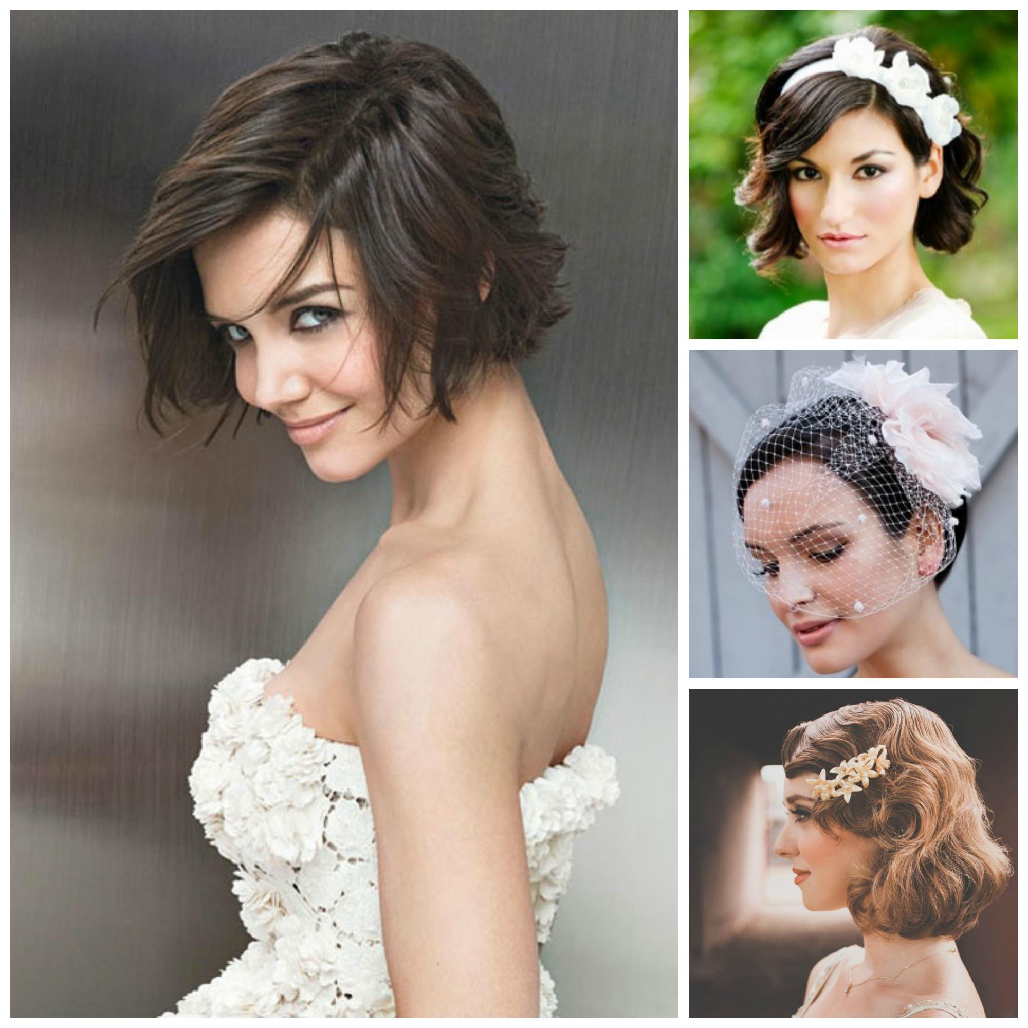 свадебные прически с короткими волосами - с венком, диадемой.