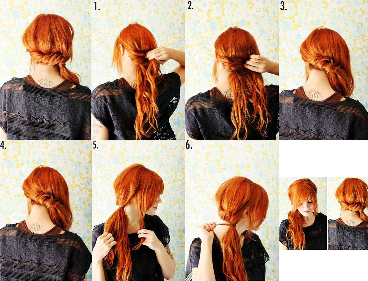 прически за 5 минут - хвост красиво украшенный косой.