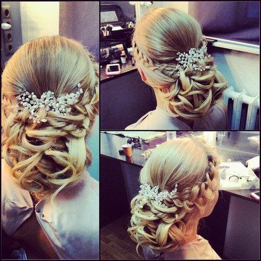 оригинальная свадебные прически с волосами средней длины.
