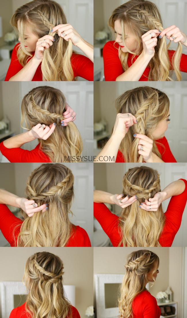 Причёска с косой и волнистыми волосами
