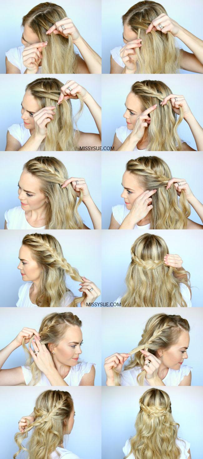 Причёска с косой в виде короны на средние волосы