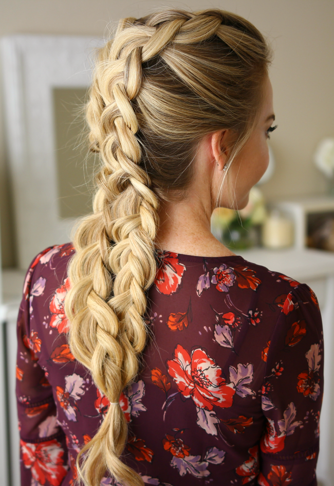Двойная коса - причёска со средними волосами