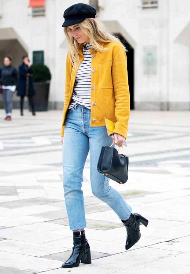 Укороченные джинсы с высокой посадкой
