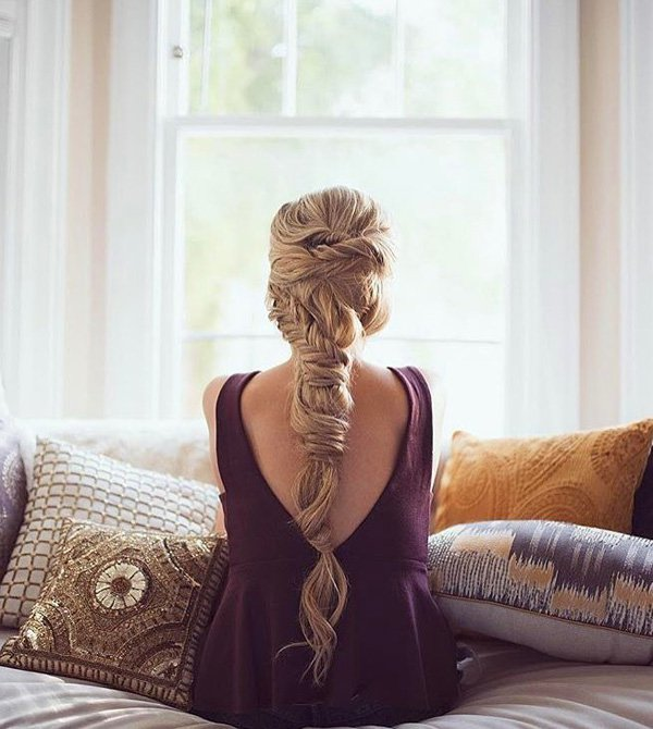необычная оригинальная прическа с косой