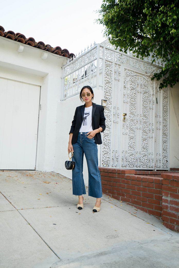Стиль: черный пиджак с джинсами кюлотами
