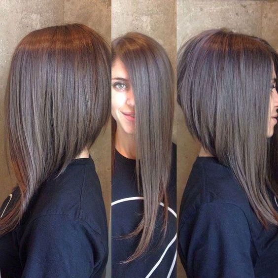 Ассиметричая стрижка боб на длинные волосы