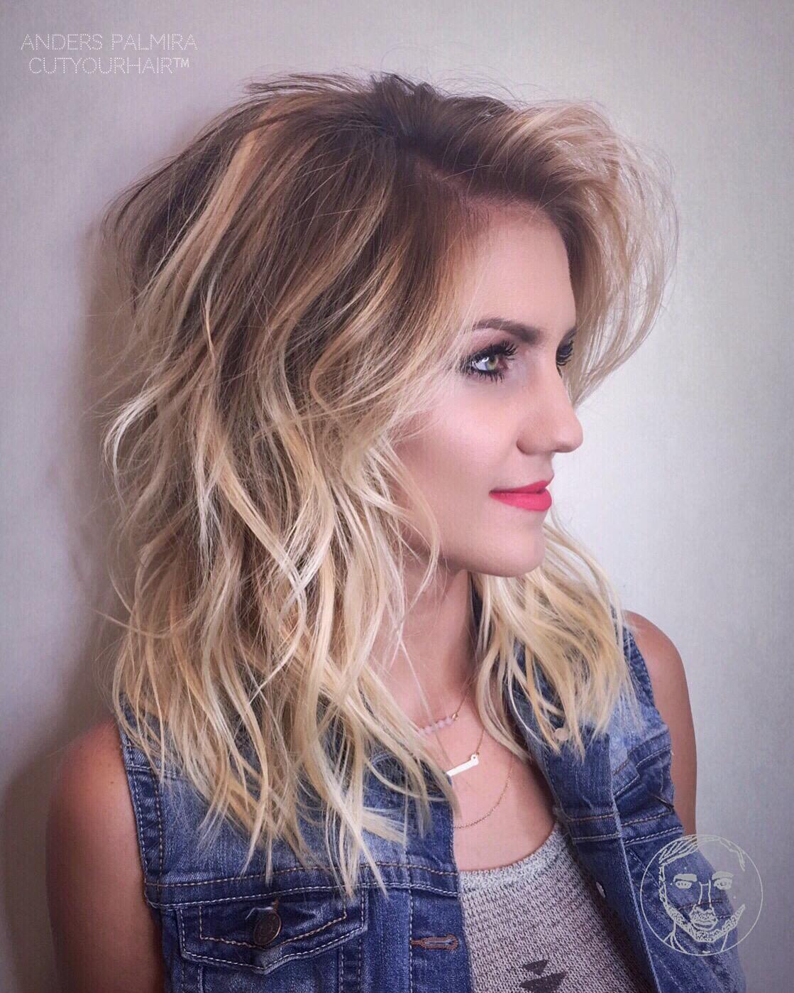 градуированная стрижка каскад на средние волосы