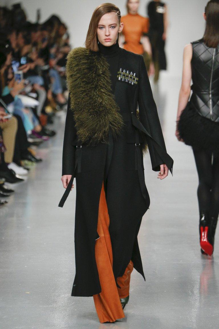 Черное длинное пальто с большим меховым темно-зеленым воротником.