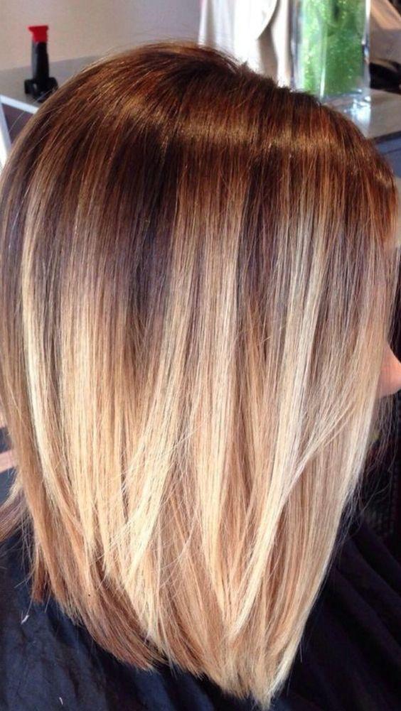 градуированная стрижка на длинные волосы с окрасм омбре