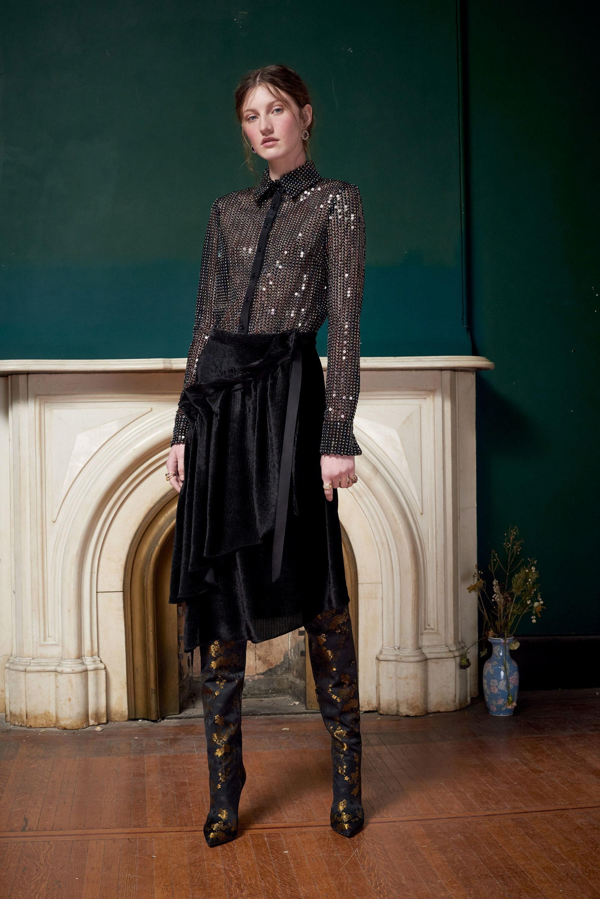 Ashish модная блузка 2019 темно-серого цвета с пайетками