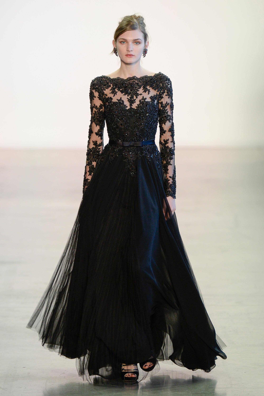 Badgley Mischka черное кружевное платье 2019 с пышной юбкой