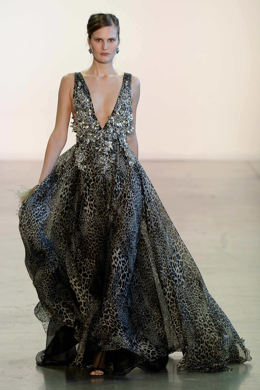 Badgley Mischka расшитое пышное платье с глубоким вырезом 2019 с леопардом принтом